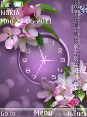 Violet Flowers Clock theme screenshot