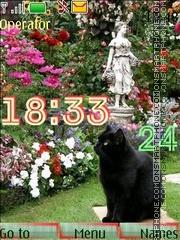 cat in flowers swf theme screenshot