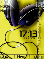 Headphones Clock theme screenshot