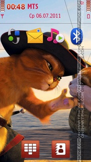 Puss in Boots from Shrek theme screenshot