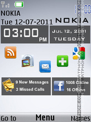 Nokia X3 Clock Mp3 theme screenshot