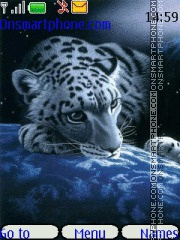 Snow leopard at night theme screenshot