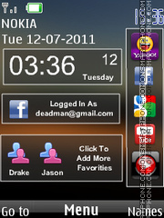 Stylish Nokia Clock theme screenshot