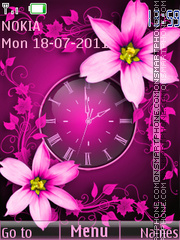 The pink clock theme screenshot