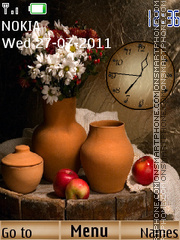 Apple with flower with clock theme screenshot