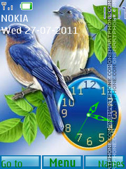 Blue Birds and Clock theme screenshot
