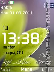 Скриншот темы Green Leaf Clock