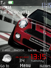 Mini Cooper and Clock theme screenshot