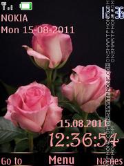 Скриншот темы Rose Bouquet and Clock
