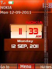 Red Nokia Clock theme screenshot