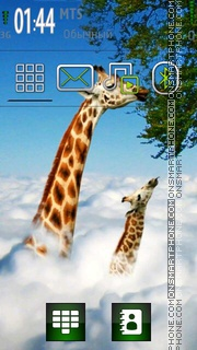 Giraffe and Beautiful Nature theme screenshot