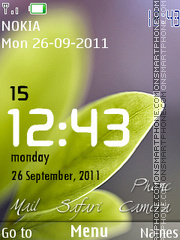 Green Leaf Clock 01 theme screenshot