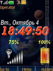 Space clock indicators swf tema screenshot