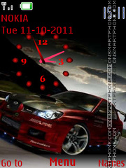 Red Car Clock 01 tema screenshot