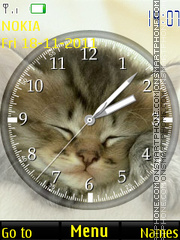 Sleeping Kitten Clock theme screenshot