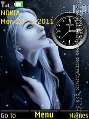 Winter Girl Clock 2 tema screenshot