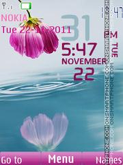 Flower Pink Clock theme screenshot
