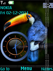 Bird Toucan Clock tema screenshot
