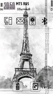 Скриншот темы Sketchy Eiffel Tower