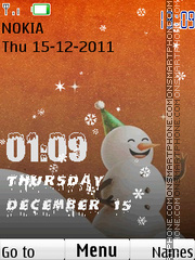 Скриншот темы Christmas Snow Clock