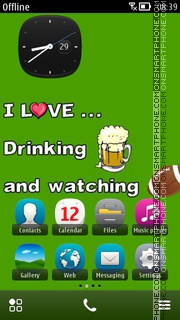 Beer And Football theme screenshot