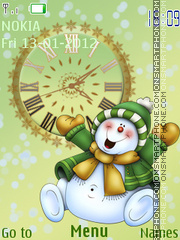 Snowman Clock theme screenshot
