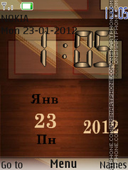 Wooden Clock tema screenshot