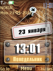 Wood Clock theme screenshot