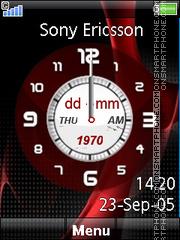 Red Clock 01 theme screenshot