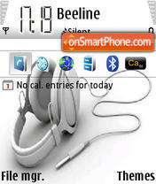 White Headphones tema screenshot