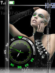Girl And Clock theme screenshot