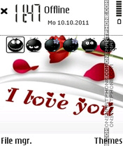 Скриншот темы I Love U With Emotionc Icons