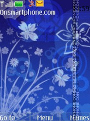 Blue Flowers With Hand Drawn Icon theme screenshot
