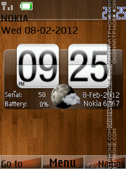 Wood Clock 01 tema screenshot