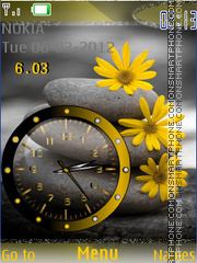 Yellow Flower And Clock tema screenshot