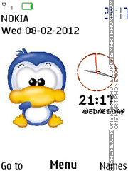 Cute Duck Clock 01 tema screenshot