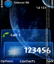 Planet Blue tema screenshot