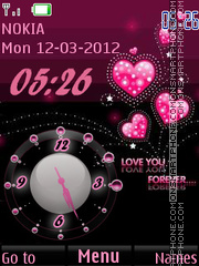 Hearts And Clock theme screenshot