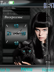 Girl And Black Cat Clock theme screenshot