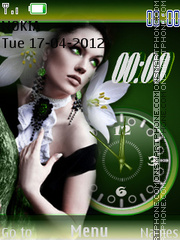 Green Girl Clock tema screenshot