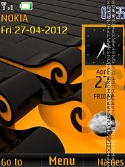 Yellow Abstrct Clock Theme-Screenshot