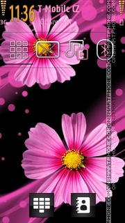 Pink Flowers tema screenshot