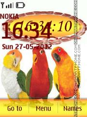 Colorful Parrots Clock es el tema de pantalla