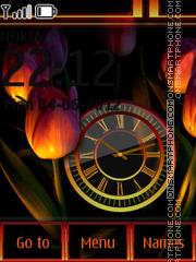 Tulips And Clock theme screenshot