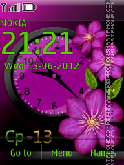 Purple Flowers Clock theme screenshot