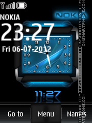 Blue Nokia Dual Clock theme screenshot