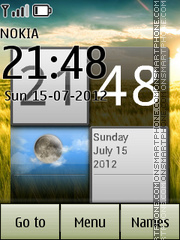Nature with clock and calender theme screenshot