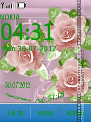 Roses on a pink background theme screenshot