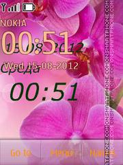 Orchids of clock theme screenshot