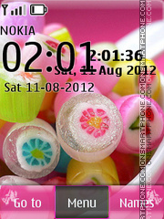 Sweet Candy With Clock theme screenshot